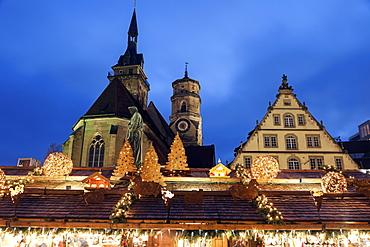 Stiftskirche and Schillerplatz, Germany, Baden-Wurttemberg, Stuttgart, Stiftskirche, Schillerplatz