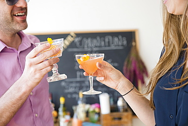 Couple toasting at party