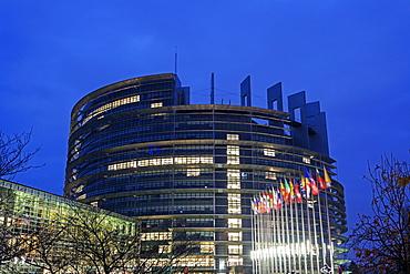 European Parliament at night, France, Alsace, Strasbourg, European Parliament