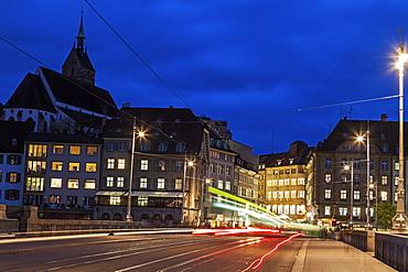 Mittlere Bridge at night, Switzerland, Basel-Stadt, Basel, Mittlere Bridge