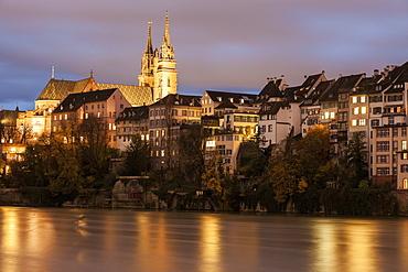 Basel Minster and Rhine River, Switzerland, Basel-Stadt, Basel, Basel Minster, Rhine River