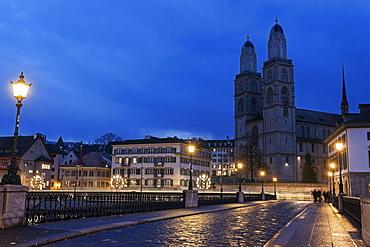 Grossmunster at night, Switzerland, Zurich