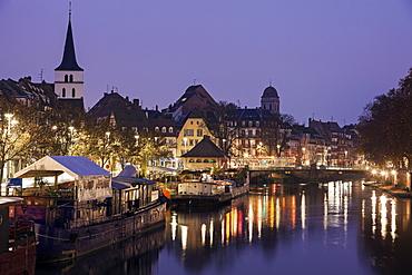 Canal and Saint William's Church, France, Alsace, Strasbourg, Strasbourg canal, Saint William's Church