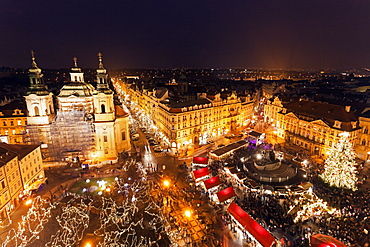 Town square at night, Czech Republic, Prague, Old Town Square