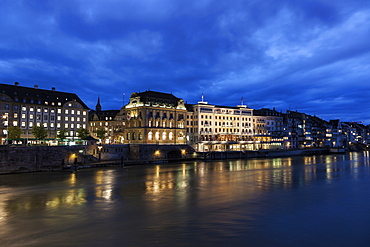 Old town at night, Switzerland, Basel-Stadt, Basel