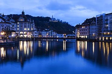 Architecture along Reuss River, Switzerland, Lucerne, Lucerne architecture along Reuss River