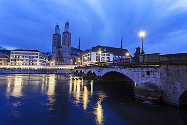 Grossmunster at night, Switzerland, Zurich, Grossmunster