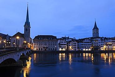 Fraumunster Church and St. Peter Church, Switzerland, Zurich, Fraumunster Church,St. Peter Church
