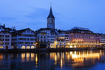 St. Peter Church at night, Switzerland, Zurich, St. Peter Church