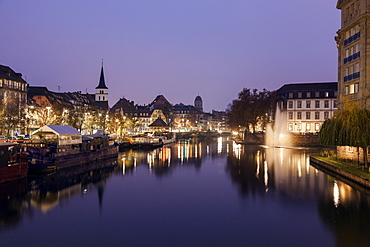 Canal and Saint William's Church, France, Alsace, Strasbourg, Canal, Saint William's Church