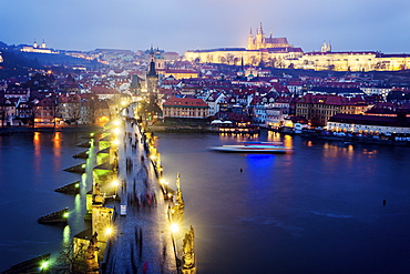 Charles Bridge and Hradcany Castle, Czech Republic, Prague, Charles Bridge, Hradcany Castle