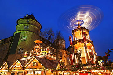 Christmas market at night, Germany, Baden-Wurttemberg, Stuttgart