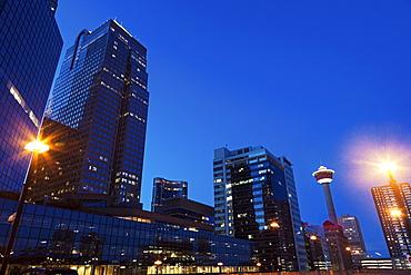 Skyscrapers at night, Canada, Alberta, Calgary