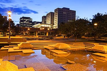 Town square at night, Canada, Alberta, Edmonton