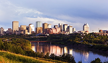 City skyline at sunrise, Canada, Alberta, Edmonton