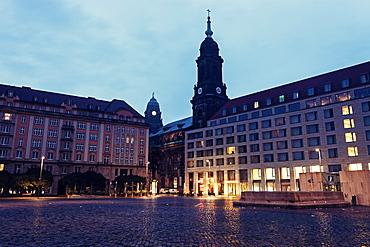 Altmarkt and Kreuzkirchturm, Germany, Saxony, Dresden, Altmarkt, Kreuzkirchturm