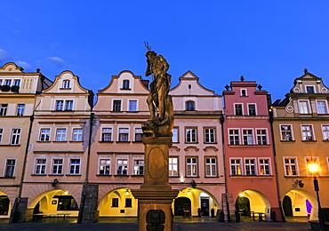 Statues and facades of old town houses, Poland, Dolnoslaskie, Jelenia Gora, Old Town