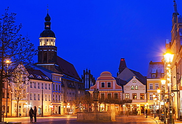 Altmarkt and St. Nikolai Church illuminated at night, Germany, Brandenburg, Cottbus, Altmarkt,St. Nikolai Church