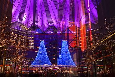 Illuminated decorations of Sony Center, Germany, Berlin, Sony Center