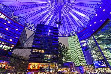 Illuminated dome of Sony Center, Germany, Berlin, Sony Center