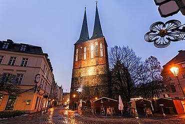 Illuminated Church of Saint Nicholas, Germany, Berlin, Church of Saint Nicholas