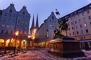 Equestrian statue on illuminated town square, Germany, Berlin