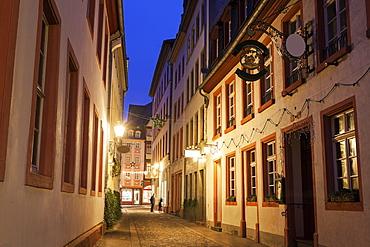 View along illuminated old town street, Germany, Rhineland-Palatinate, Mainz