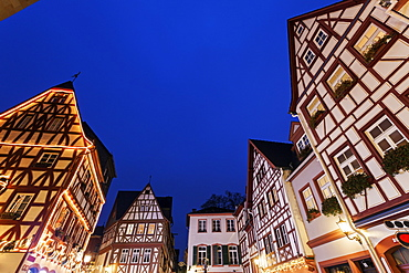 Illuminated half-timbered houses, Germany, Rhineland-Palatinate, Mainz, Old Town