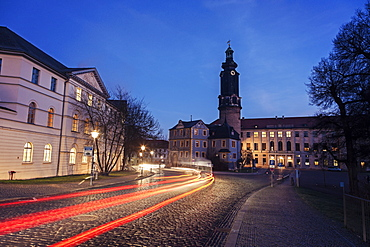 Light trails in old town street, Germany, Thuringia, Weimar