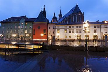 Little Market Square illuminated at night, Poland, Malopolskie, Krakow, Little Market Square