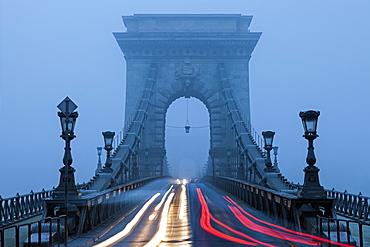 Light trails on Chain Bridge, Hungary, Budapest, Chain bridge