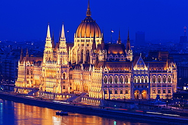 Hungarian Parliament illuminated at night, Hungary, Budapest, Hungarian Parliament