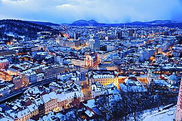 Winter cityscape at dawn, Slovenia, Ljubljana