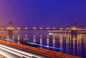 Illuminated Chain Bridge and light trails, Hungary, Budapest, Chain bridge