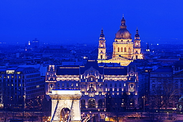 Illuminated cityscape with Saint Stephen's Basilica, Hungary, Budapest, Budapest Churches
