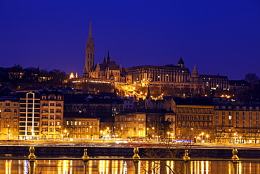 Buda skyline with Matthias Church and Fisherman's Bastion, Hungary, Budapest, Matthias Church, Fisherman's Bastion