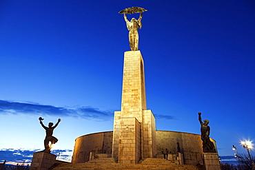 Illuminated Liberty Statue against sky, Hungary, Budapest, Liberty Statue, Gellert Hill
