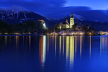 Lake Bled and illuminated Church of the Assumption, Slovenia, Bled, Church on the Lake,Church of the Assumption