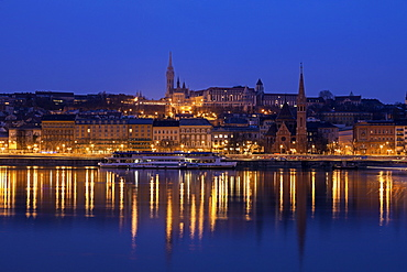 Buda skyline with Matthias Church and Fisherman's Bastion, Hungary, Budapest, Matthias Church, Fisherman's Bastion