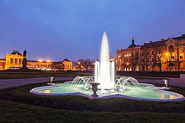 Illuminated fountain at night, Croatia, Zagreb, railway station, fountain,King Tomislav Square
