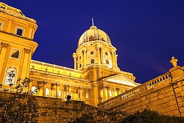 Royal Palace dome illuminated at night, Hungary, Budapest, Royal Palace