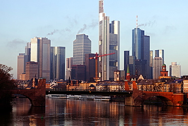 Skyline with skyscrapers, Frankfurt, Hesse, Germany