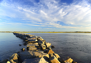 View of groyne, USA, Massachusetts, Cape Cod, Provincetown Harbor