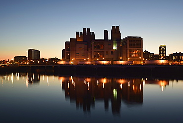 Expressway Tunnel Ventilation System Building at dusk, USA, Massachusetts, Boston, Fort Point Channel