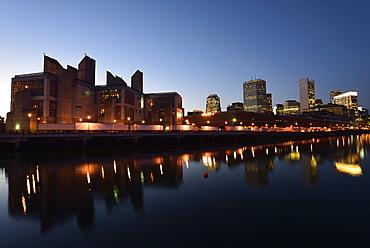 City at dusk, USA, Massachusetts, Boston, Fort Point Channel