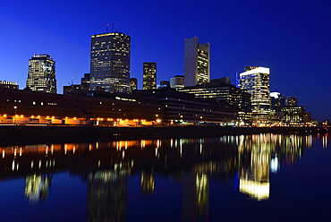 Financial district at night, USA, Massachusetts, Boston, Fort Point Channel