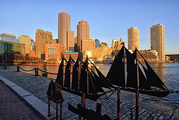 Financial district at sunrise from Fan Pier, USA, Massachusetts, Boston, Fan Pier
