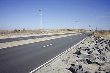 View of empty highway in desert