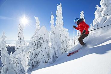Mature woman on ski slope at sunlight, USA, Montana, Whitefish