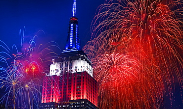 Independence Day celebration with fireworks, USA, New York, New York City